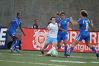 Megan Rapinoe (Center) fights with Stephanie Cox (14) and Lauren Cheney (8) as Fabiana looks on.