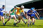 James Godley, Kilmoyley, in action against John Egan, Saint Brendan's, during the County Senior hurling Final between Kilmoyley and Saint Brendan's at Austin Stack park on Sunday.