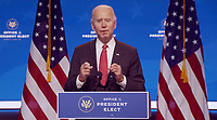 United States President-elect Joe Biden makes remarks following his virtual meeting with the National Governors Association's Executive Committee in Wilmington, Delaware on Monday, November 16, 2020.  <br /> Credit: Biden Transition via CNP /MediaPunch