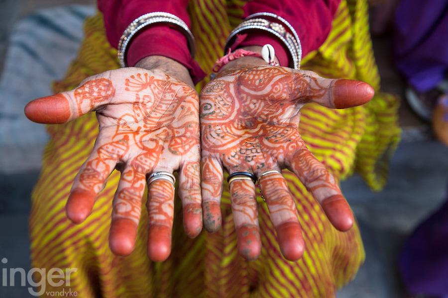 Henna Hands at Sambhar, Rajasthan