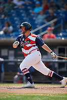 Quad Cities River Bandits third baseman Colton Shaver (37) follows through on a swing during a game against the West Michigan Whitecaps on July 23, 2018 at Modern Woodmen Park in Davenport, Iowa.  Quad Cities defeated West Michigan 7-4.  (Mike Janes/Four Seam Images)