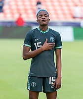 HOUSTON, TX - JUNE 13: Rasheedat Ajibade #15 of Nigeria stands before player introductions during a game between Nigeria and Portugal at BBVA Stadium on June 13, 2021 in Houston, Texas.