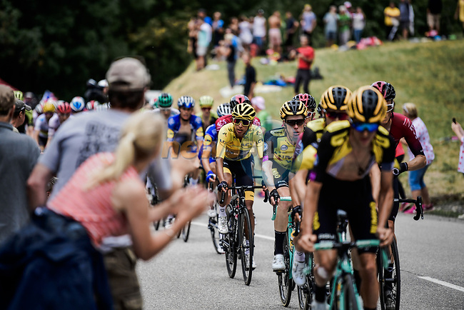The peloton now led by Team Jumbo-Visma riding to get their leader Steven Kruijswijk (NED) on the final podium during Stage 20 of the 2019 Tour de France running 59.5km from Albertville to Val Thorens, France. 27th July 2019.<br /> Picture: ASO/Pauline Ballet   Cyclefile<br /> All photos usage must carry mandatory copyright credit (© Cyclefile   ASO/Pauline Ballet)