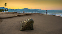 Landscape Scenic of a golden sunrise on the beaches of Puerto Vallarta, Mexico.