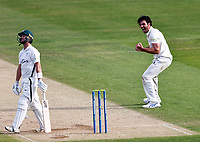 Grant Stewart of Kent celebrates taking the wicket of Jake Libby (L) during Kent CCC vs Worcestershire CCC, LV Insurance County Championship Division 3 Cricket at The Spitfire Ground on 6th September 2021