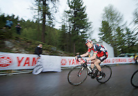 Cadel Evans (AUS/BMC) had to struggle hard to try and keep up with the leaders and minimise time loss in the final kilometer up the Val Martello climb/finish (2059m)<br /> <br /> 2014 Giro d'Italia <br /> stage 16: Ponte di Legno - Val Martello (139km)