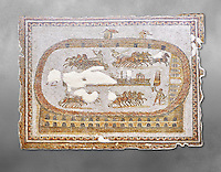 Late 2nd early 3rd century AD Roman mosaic depictiong a  chariot race at the circus. From Cathage, Tunisia.  The Bardo Museum, Tunis, Tunisia. Grey background