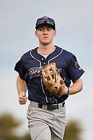 Jacksonville Jumbo Shrimp left fielder Brian Miller (7) jogs off the field during a game against the Pensacola Blue Wahoos on August 15, 2018 at Blue Wahoos Stadium in Pensacola, Florida.  Jacksonville defeated Pensacola 9-2.  (Mike Janes/Four Seam Images)