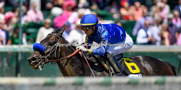 April 30, 2021 : Maxfield, #6, ridden by jockey Jose L. Ortiz, wins the Alysheba Graded Stakes on Kentucky Oaks Day at Churchill Downs on April 30, 2021 in Louisville, Kentucky. Carlos Calo/Eclipse Sportswire/CSM