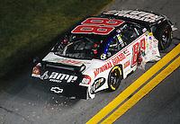 Feb 07, 2009; Daytona Beach, FL, USA; NASCAR Sprint Cup Series driver Dale Earnhardt Jr after crashing during the Bud Shootout at Daytona International Speedway. Mandatory Credit: Mark J. Rebilas-