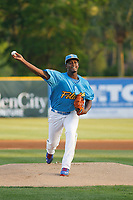 Myrtle Beach Pelicans pitcher Oscar De La Cruz (37) on the mound during a game against the Lynchburg Hillcats at Ticketreturn Field at Pelicans Ballpark on April 14, 2017 in Myrtle Beach, South Carolina. Lynchburg defeated Myrtle Beach 5-2. (Robert Gurganus/Four Seam Images)