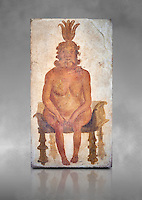 Roman fresco wall painting from the Sacrarium of the Temple of Isis in Pompeii depicting the Egyptian god Bes, God of war but also childbirth and the home, and was associated with sexuality, humour, music and dancing, North wall of Sacrarium, Naples National Archaeological Museum , inv 1.72 , Naples National Archaeological Museum , grey art background