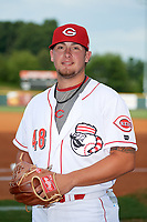 Greeneville Reds pitcher Connor Bennett (48) poses for a photo before a game against the Pulaski Yankees on July 27, 2018 at Pioneer Park in Tusculum, Tennessee.  Greeneville defeated Pulaski 3-2.  (Mike Janes/Four Seam Images)
