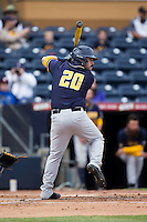 Mitchell Kranson (20) of the California Golden Bears at bat against the Duke Blue Devils at Durham Bulls Athletic Park on February 20, 2016 in Durham, North Carolina.  The Blue Devils defeated the Golden Bears 6-5 in 10 innings.  (Brian Westerholt/Four Seam Images)