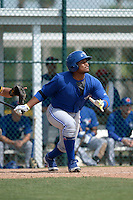 Toronto Blue Jays Juan Kelly (17) during a minor league spring training game against the Pittsburgh Pirates on March 21, 2015 at Pirate City in Bradenton, Florida.  (Mike Janes/Four Seam Images)