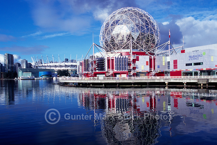 Vancouver, BC, British Columbia, Canada - Telus World of Science (aka Science World), and BC Place Stadium (New Retractable Roof completed in 2011) at False Creek - Renovation at Science World completed in 2012