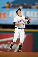 Bradenton Marauders shortstop Kevin Newman (5) gets under a popup during a game against the Fort Myers Miracle on April 9, 2016 at McKechnie Field in Bradenton, Florida.  Fort Myers defeated Bradenton 5-1.  (Mike Janes/Four Seam Images)