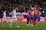 Atletico de Madrid´s players celebrate Antoine Griezmann´s goal during 2015-16 La Liga match between Atletico de Madrid and Real Sociedad at Vicente Calderon stadium in Madrid, Spain. March 01, 2016. (ALTERPHOTOS/Victor Blanco)