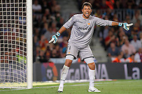 02/09/2012 - Liga Football Spain, FC Barcelona vs. Valencia CF Matchday 3 - Diego Alves reacts to signal with his finger