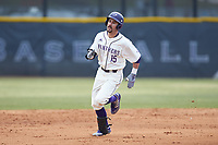 Joe Johnson (15) of the High Point Panthers hustles towards third base against the Bryant Bulldogs at Williard Stadium on February 21, 2021 in  Winston-Salem, North Carolina. The Panthers defeated the Bulldogs 3-2. (Brian Westerholt/Four Seam Images)