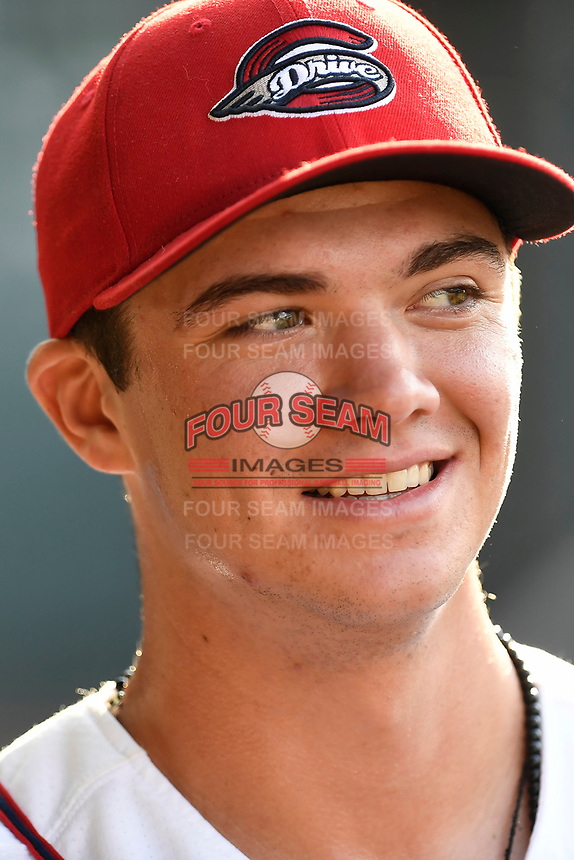 Third baseman Bobby Dalbec (23) of the Greenville Drive before a game against the Kannapolis Intimidators on Wednesday, July 12, 2017, at Fluor Field at the West End in Greenville, South Carolina. Greenville won, 12-2. (Tom Priddy/Four Seam Images)