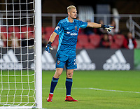WASHINGTON, DC - MAY 13: Jon Kempin #21 of D.C. United organizes the defense during a game between Chicago Fire FC and D.C. United at Audi FIeld on May 13, 2021 in Washington, DC.