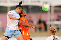Kate Markgraf (15) of the Chicago Red Stars and Rosana (11) of Sky Blue FC go up for a header. The Chicago Red Stars defeated Sky Blue FC 2-1 during a Women's Professional Soccer (WPS) match at Yurcak Field in Piscataway, NJ, on August 01, 2010.
