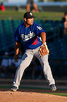 Raydel Sanchez #41 of the Rancho Cucamonga Quakes pitches against the Lancaster JetHawks at The Hanger on August 25, 2013 in Lancaster, California. Lancaster defeated Rancho Cucamonga, 7-1. (Larry Goren/Four Seam Images)