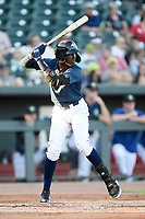 Shortstop Ronny Mauricio (2) of the Columbia Fireflies bats in a game against the Lexington Legends on Friday, June 14, 2019, at Segra Park in Columbia, South Carolina. Lexington won, 5-1. (Tom Priddy/Four Seam Images)