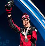 Mark Arendz, PyeongChang 2018 - Para Nordic Skiing // Ski paranordique.<br /> Mark Arendz collects his bronze medal in the men's biathlon 7.5km standing // Mark Arendz remporte sa médaille de bronze au biathlon masculin 7,5 km debout. 10/03/2018.
