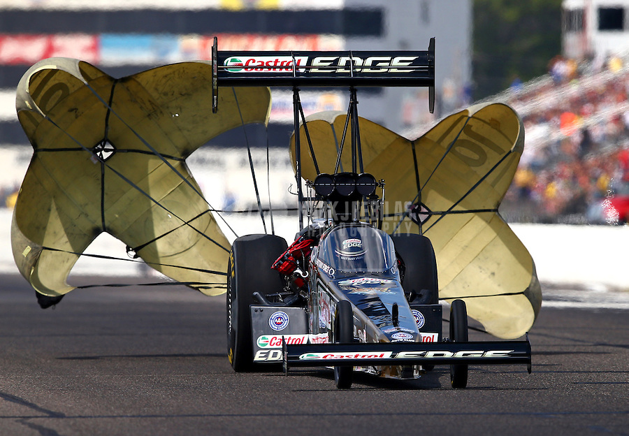 Aug. 17, 2013; Brainerd, MN, USA: NHRA top fuel dragster driver Brittany Force during qualifying for the Lucas Oil Nationals at Brainerd International Raceway. Mandatory Credit: Mark J. Rebilas-