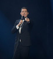 SUNRISE, FL - NOVEMBER 02: Michael Bublé performs at BB&T Center.  Michael Steven Bublé (born 9 September 1975) is a Canadian vocalist, songwriter and actor. He has won several awards, including three Grammy Awards and multiple Juno Awards.  His first album reached the top ten in Canada and the UK on November 2, 2013 in Sunrise, Florida<br /> <br /> People:  Michael Buble<br /> <br /> Transmission Ref:  FLXX<br /> <br /> Must call if interested<br /> Michael Storms<br /> Storms Media Group Inc.<br /> 305-632-3400 - Cell<br /> 305-513-5783 - Fax<br /> MikeStorm@aol.com