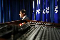 Action Democratique du Quebec (ADQ) MNA Francois Bonnardel gestures as he speaks during a press conference at the National Assembly in Quebec City Thursday November 18, 2010.<br /> <br /> PHOTO :  Francis Vachon - Agence Quebec Presse