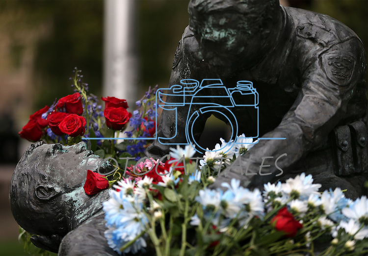 Images from the annual Law Enforcement Officers Memorial Ceremony on the Capitol grounds in Carson City, Nev. on Thursday, May 5, 2016. The name of Carson City Sheriff's Deputy Carl Howell was added to the memorial after he was killed in the line of duty in Aug. 2015.<br /> Photo by Cathleen Allison/Nevada Photo Source