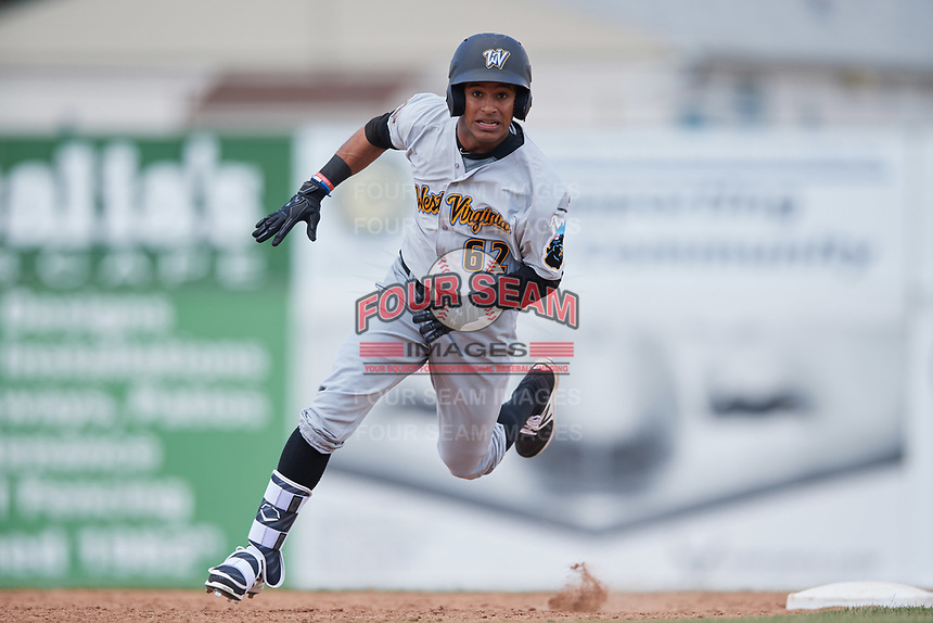 West Virginia Black Bears center fielder Michael De La Cruz (62) running the bases during a game against the Batavia Muckdogs on June 25, 2017 at Dwyer Stadium in Batavia, New York.  West Virginia defeated Batavia 6-4 in the completion of the game started on June 24th.  (Mike Janes/Four Seam Images)