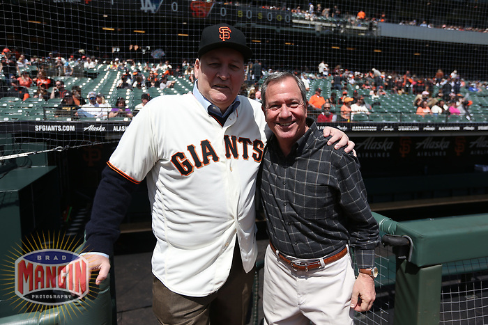 """SAN FRANCISCO, CA - APRIL 8:  John """"The Count"""" Montefusco and Mario Alioto of the San Francisco Giants pose for a picture on the dugout steps waiting for a pre-game ceremony before the game against the Los Angeles Dodgers at AT&T Park on Sunday, April 8, 2018 in San Francisco, California. (Photo by Brad Mangin)"""