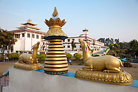 India, Dehradun.  Grounds of the Buddhist Temple of Dehradun and Mindrolling Monastery.  Buddhism teaches that the Buddha was incarnated as a deer in one of his previous lives.
