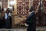 Gabon Republic Ambassador Patrick Arthur Moukala during a meeting with King Felipe VI of Spain at Royal Palace in Madrid, Spain. December 16, 2015. (ALTERPHOTOS/Victor Blanco)