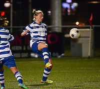 20140221 - OOSTAKKER , BELGIUM : Gent Margaux Van Ackere pictured during the soccer match between the women teams of AA Gent Ladies  and RAFC Antwerp Ladies , on the 19th matchday of the BeNeleague competition Friday 21 February 2014 in Oostakker. PHOTO DAVID CATRY