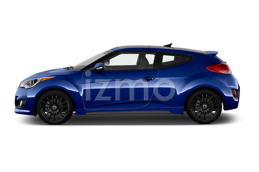 Car Driver side profile view of a 2016 Hyundai Veloster 1.6-Turbo-Manual 4 Door Hatchback Side View