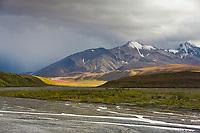 Autumn colors over the tundra, East fork river, Denali National Park, Interior, Alaska.