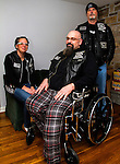 HARWINTON, CT - 31 DECEMBER 2016 - 123116JW01.jpg -- Dan DePaolo poses for a photo with his wife Cassandra DePaolo and friend Frank Willmott. A benefit is planned for DePaolo, who was one of many motorcycle riders injured in a motor vehicle accident that occured Sunday October 23rd, causing  him to have part of his leg amputated. Jonathan Wilcox Republican-American