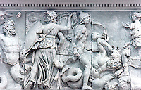 Greek Art: East frieze--a Pergamon relief panel where Hecate fights against Klytios (left) and Artemis against Otos (right). Pergamon Museum, Berlin.