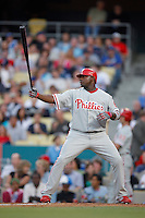 Ryan Howard of the Philadelphia Phillies during a game against the Los Angeles Dodgers in a 2007 MLB season game at Dodger Stadium in Los Angeles, California. (Larry Goren/Four Seam Images)