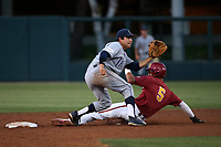 Mikey Duarte (21) of the UC Irvine Anteaters waits for the throw as Blake Sobol (5) of the Southern California Trojans steals second base at Dedeaux Field on April 18, 2017 in Los Angeles, California. UC Irvine defeated Southern California, 14-3. (Larry Goren/Four Seam Images)
