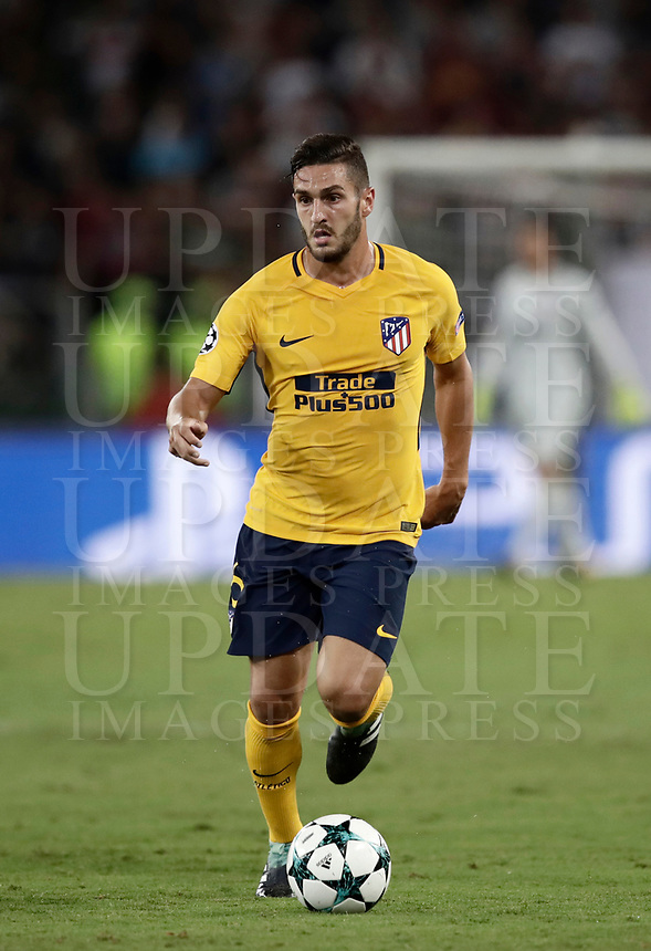 Football Soccer: UEFA Champions League AS Roma vs Atletico Madrid Stadio Olimpico Rome, Italy, September 12, 2017. <br /> Atletico Madrid's Koke in action during the Uefa Champions League football soccer match between AS Roma and Atletico Madrid at at Rome's Olympic stadium, September 12, 2017.<br /> UPDATE IMAGES PRESS/Isabella Bonotto