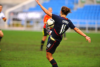 USA's Lauren Cheney kicks the ball.  The USA captured the 2010 Algarve Cup title by defeating Germany 3-2, at Estadio Algarve on March 3, 2010.