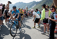 Mikel Landa (ESP/Movistar) & yellow jersey / GC leader Julian Alaphilippe (FRA/Deceuninck - Quick-Step) up the Tourmalet (HC/2115m/19km @7.4%)<br /> <br /> Stage 14: Tarbes to Tourmalet(117km)<br /> 106th Tour de France 2019 (2.UWT)<br /> <br /> ©kramon