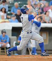 July 7, 2008: Infielder Kurt Mertins (7) of the Wilmington Blue Rocks, Class A affiliate of the Kansas City Royals, in a game against the Myrtle Beach Pelicans at BB&T Coastal Field in Myrtle Beach, S.C. Photo by:  Tom Priddy/Four Seam Image