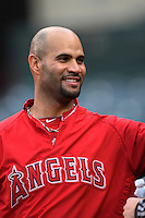 Albert Pujols #5 of the Los Angeles Angels before a game against the Minnesota Twins at Angel Stadium on May 2, 2012 in Anaheim,California. Los Angeles defeated Minnesota 9-0.(Larry Goren/Four Seam Images)